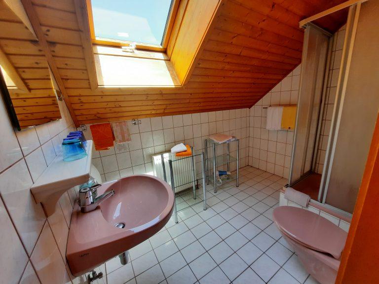 Blick ins Badezimmer der Ferienwohnung Obstgarten