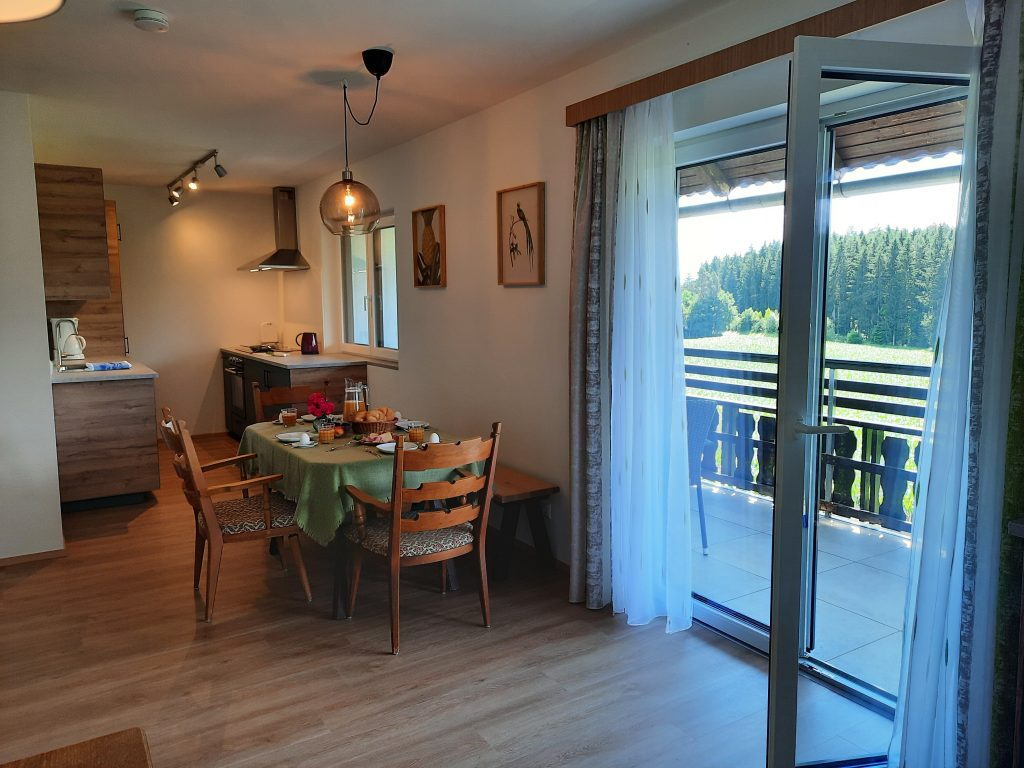Pension Hecher Ferienwohnung Wiesenglück Wohnzimmer Balkon