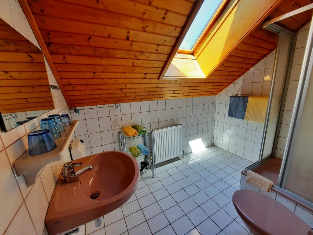 Pension Hecher Ferienwohnung Bergsicht Badezimmer